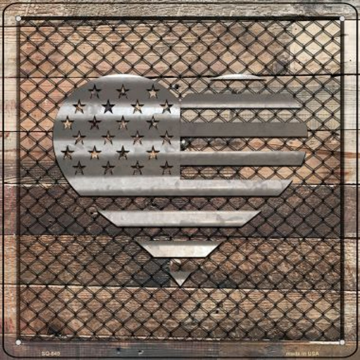 Corrugated American Flag Heart on Wood Novelty Metal Square Sign SQ-645