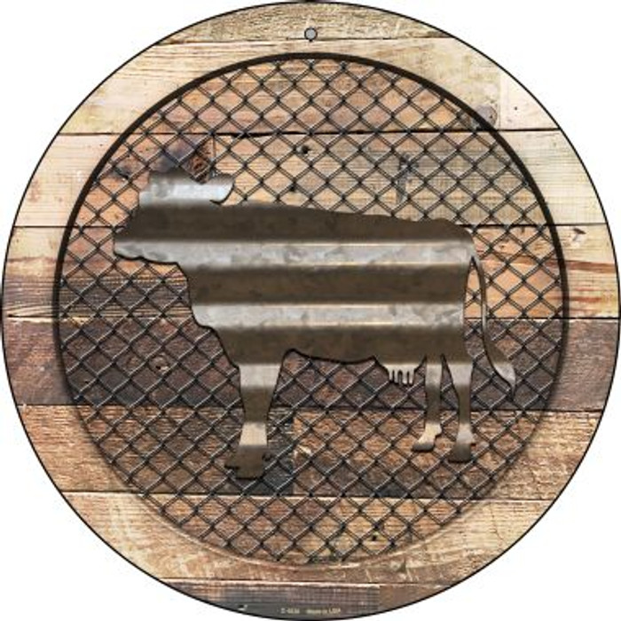 Corrugated Cow on Wood Novelty Metal Circular Sign C-1020
