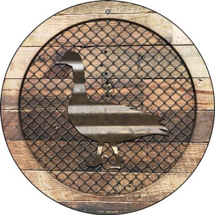 Corrugated Duck on Wood Novelty Metal Circular Sign C-1023