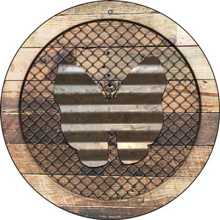 Corrugate Butterfly on Wood Novelty Metal Circular Sign C-1024