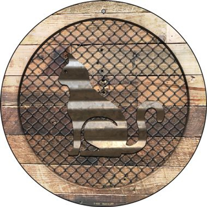 Corrugated Cat on Wood Novelty Metal Circular Sign C-1026