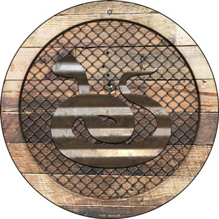 Corrugated Snake on Wood Novelty Metal Circular Sign C-1028