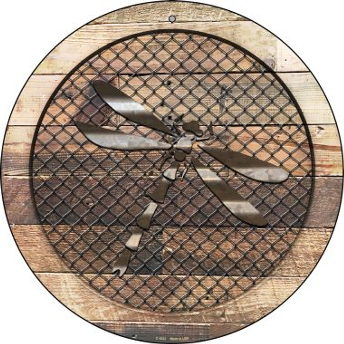 Corrugated Dragonfly on Wood Novelty Metal Circular Sign C-1032