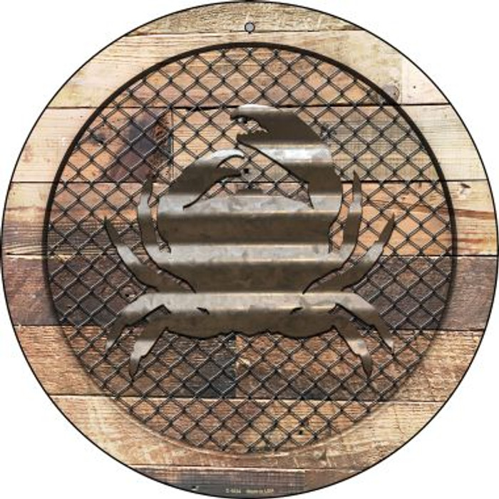Corrugated Crab on Wood Novelty Metal Circular Sign C-1034
