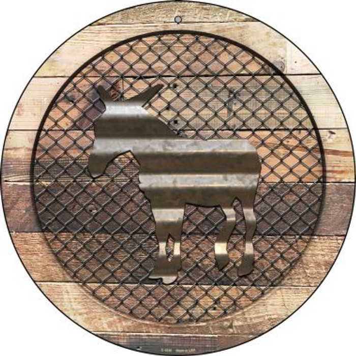 Corrugated Donkey on Wood Novelty Metal Circular Sign C-1035