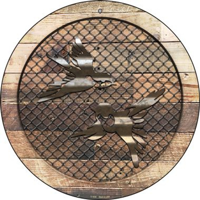 Corrugated Little Birds on Wood Novelty Metal Circular Sign C-1036