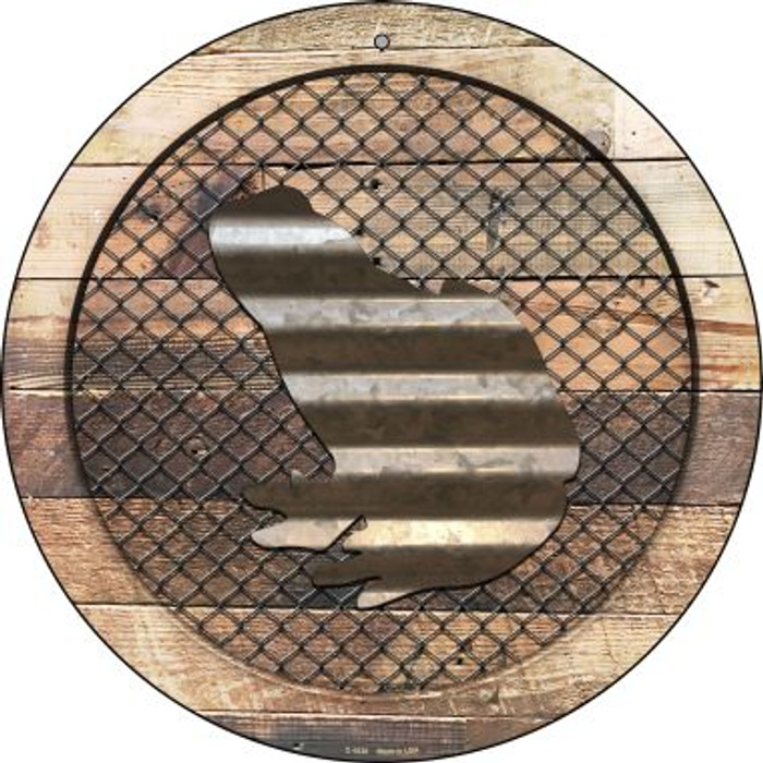 Corrugated Frog on Wood Novelty Metal Circular Sign C-1038