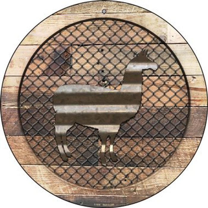 Corrugated Llama on Wood Novelty Metal Circular Sign C-1039