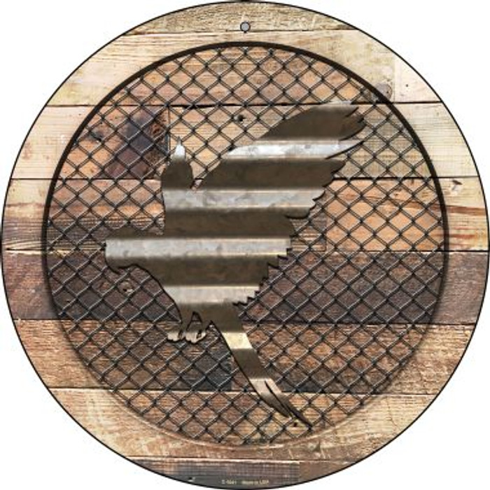 Corrugated Parrot on Wood Novelty Metal Circular Sign C-1041