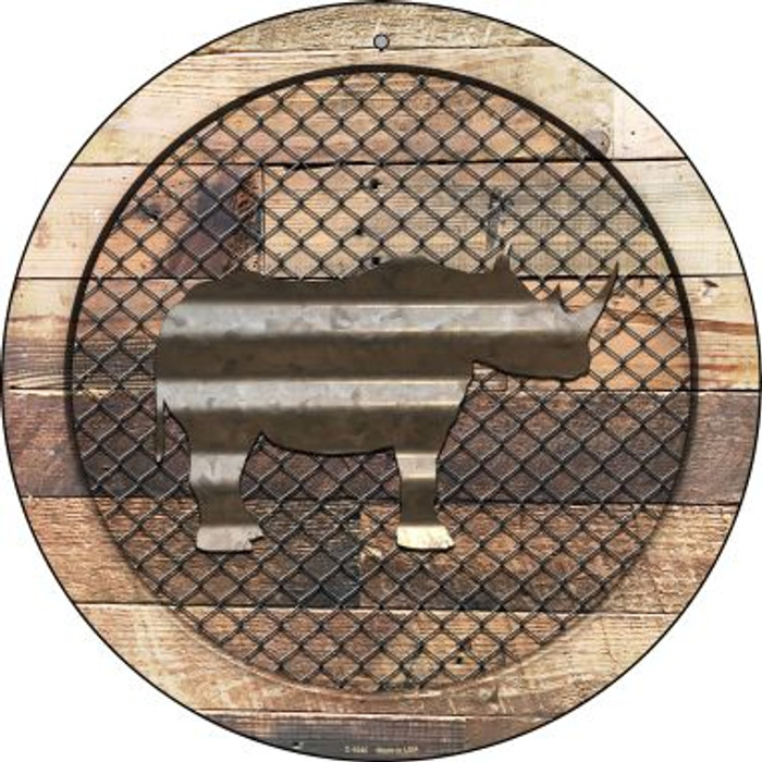 Corrugated Rhino on Wood Novelty Metal Circular Sign C-1045