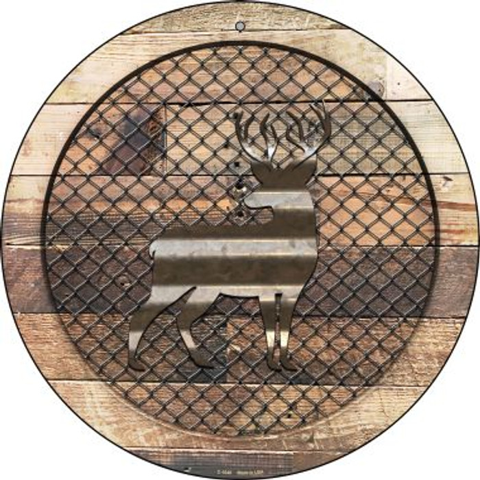 Corrugated Deer on Wood Novelty Metal Circular Sign C-1049