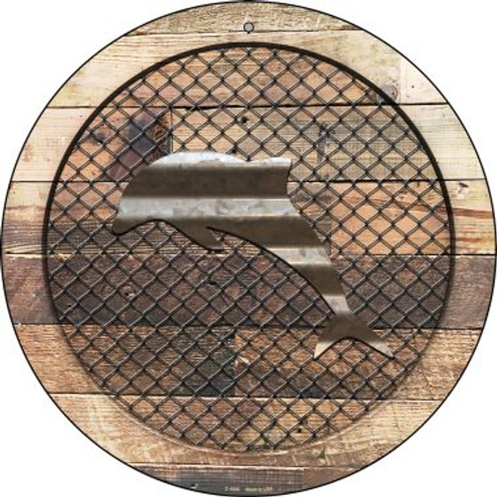 Corrugated Dolphin on Wood Novelty Metal Circular Sign C-1050