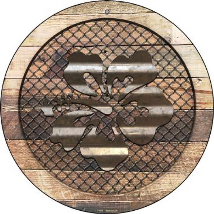 Corrugated Hawaiian Flowers on Wood Novelty Metal Circular Sign C-1056