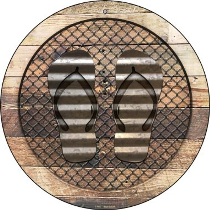 Corrugated Flip Flops on Wood Novelty Metal Circular Sign C-1057