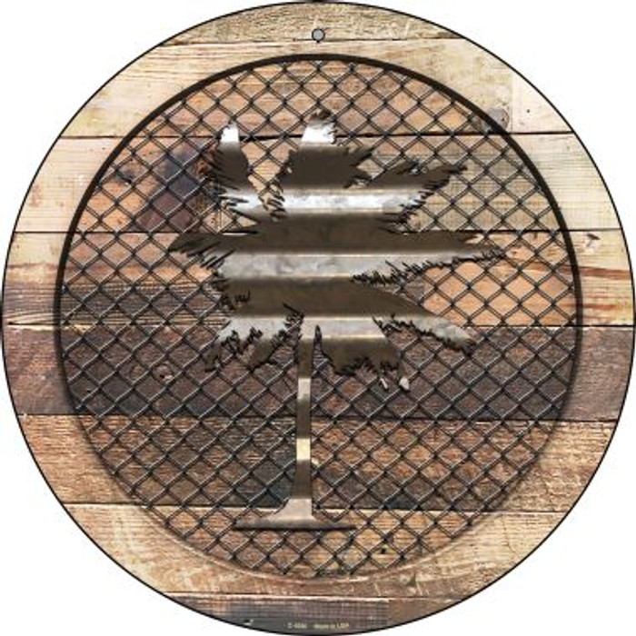 Corrugated Palm Tree on Wood Novelty Metal Circular Sign C-1058