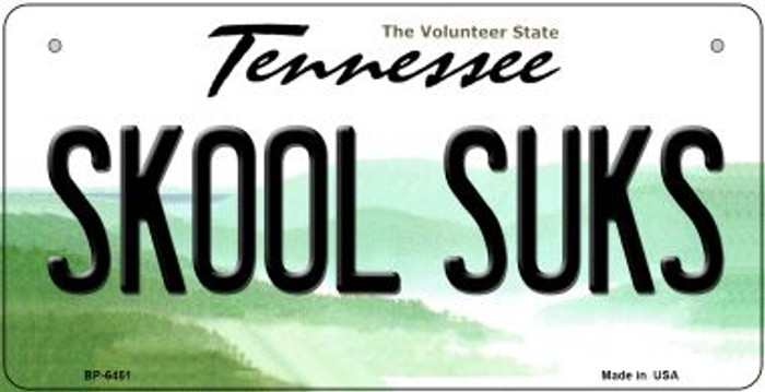 Skool Suks Tennessee Novelty Metal Bicycle Plate BP-6451
