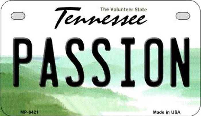 Passion Tennessee Novelty Metal Motorcycle Plate MP-6421