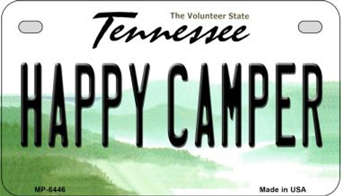 Happy Camper Tennessee Novelty Metal Motorcycle Plate MP-6446