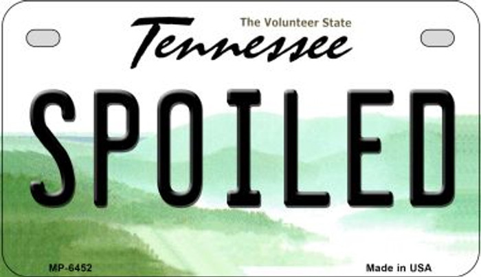 Spoiled Tennessee Novelty Metal Motorcycle Plate MP-6452