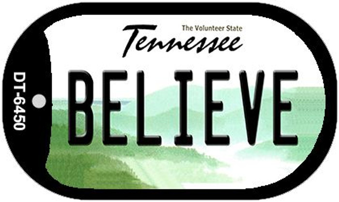 Believe Tennessee Novelty Metal Dog Tag Necklace DT-6450
