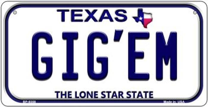 Gig'em Texas Novelty Metal Bicycle Plate BP-9358
