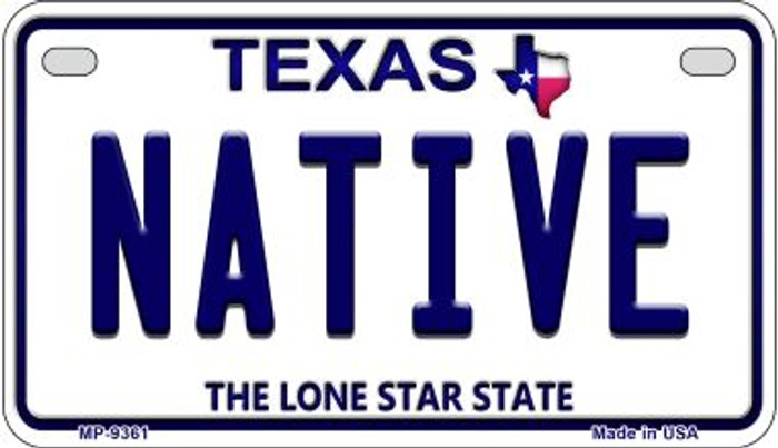 Native Texas Novelty Metal Motorcycle Plate MP-9361