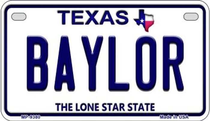 Baylor Texas Novelty Metal Motorcycle Plate MP-9380