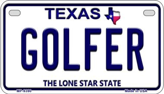 Golfer Texas Novelty Metal Motorcycle Plate MP-9390