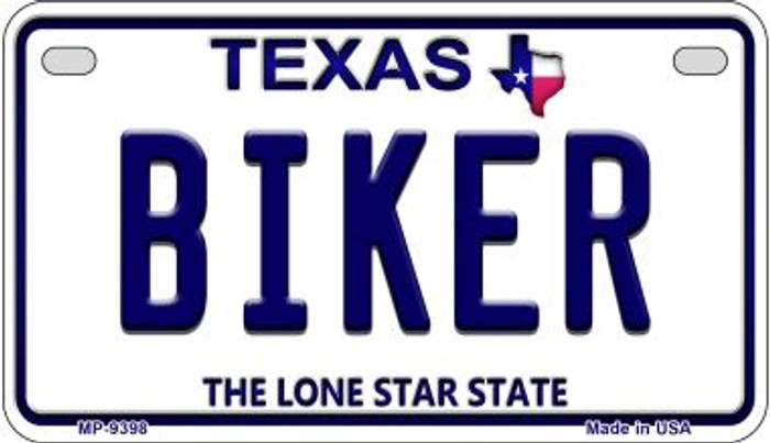 Biker Texas Novelty Metal Motorcycle Plate MP-9398