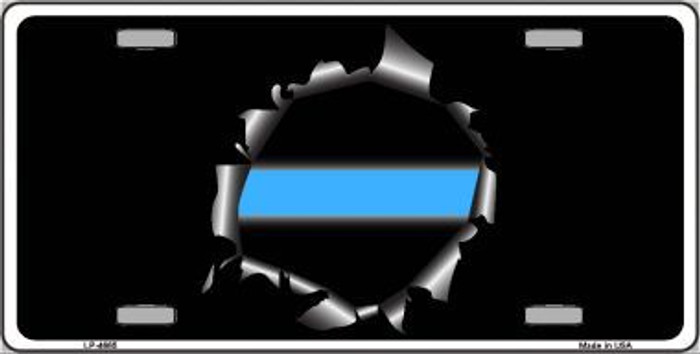 Thin Blue Line Bullet Hole Metal Novelty License Plate LP-4665