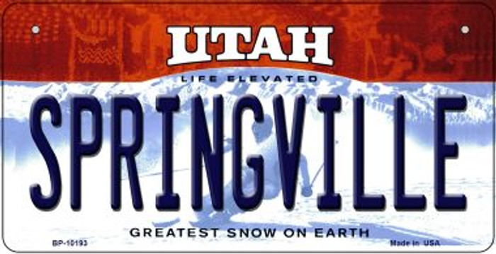 Springville Utah Novelty Metal Bicycle Plate BP-10193