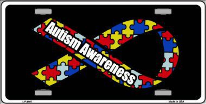 Autism Awareness Ribbon Metal Novelty License Plate LP-4667
