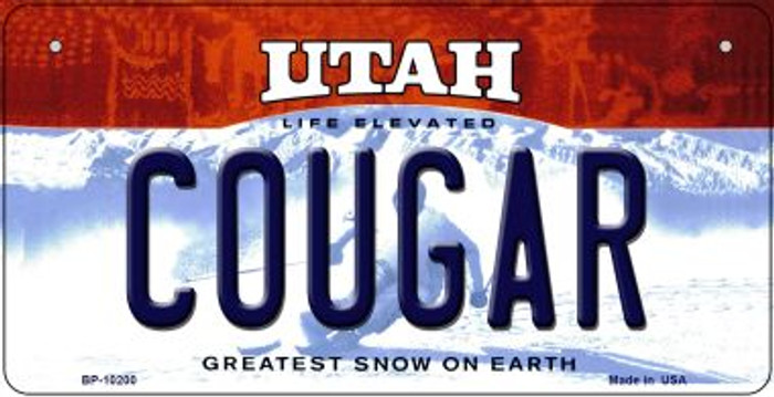Cougar Utah Novelty Metal Bicycle Plate BP-10200