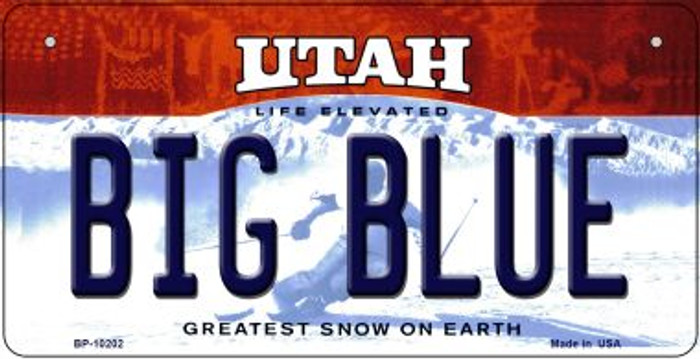 Big Blue Utah Novelty Metal Bicycle Plate BP-10202