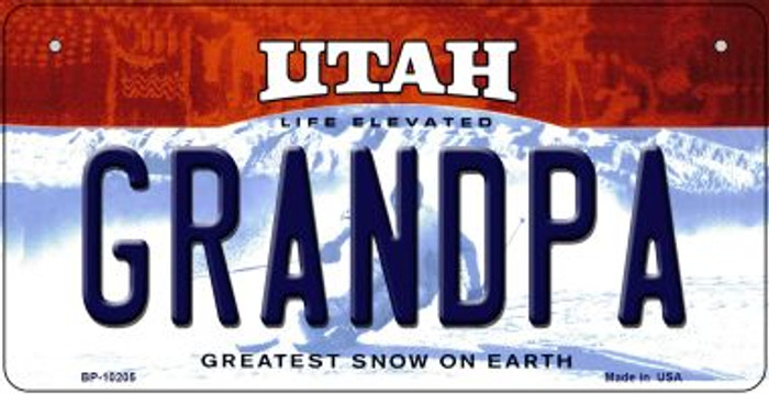 Grandpa Utah Novelty Metal Bicycle Plate BP-10205