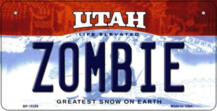 Zombie Utah Novelty Metal Bicycle Plate BP-10209