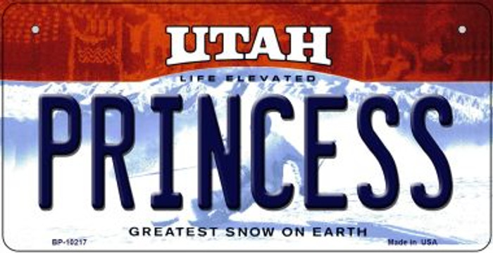 Princess Utah Novelty Metal Bicycle Plate BP-10217