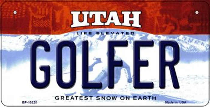Golfer Utah Novelty Metal Bicycle Plate BP-10220
