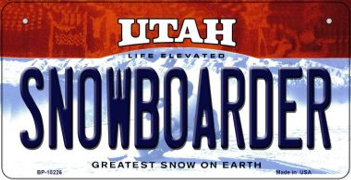Snowboarder Utah Novelty Metal Bicycle Plate BP-10226