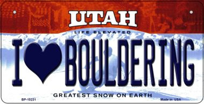 I Love Bouldering Utah Novelty Metal Bicycle Plate BP-10231