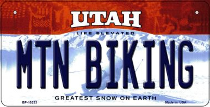 Mtn Biking Utah Novelty Metal Bicycle Plate BP-10233