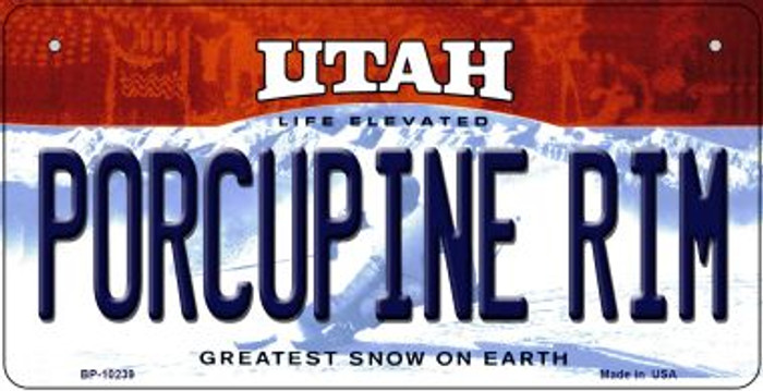 Porcupine Rim Utah Novelty Metal Bicycle Plate BP-10239