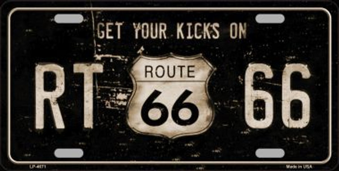 Route 66 Get Your Kicks Metal Novelty License Plate