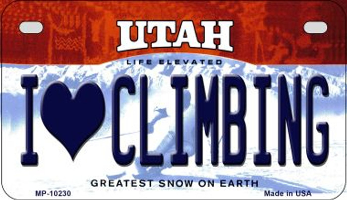 I Love Climbing Utah Novelty Metal Motorcycle Plate MP-10230