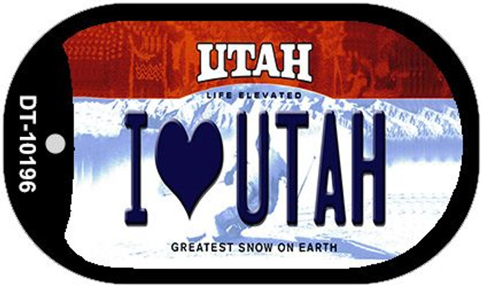 I Love Utah Novelty Metal Dog Tag Necklace DT-10196