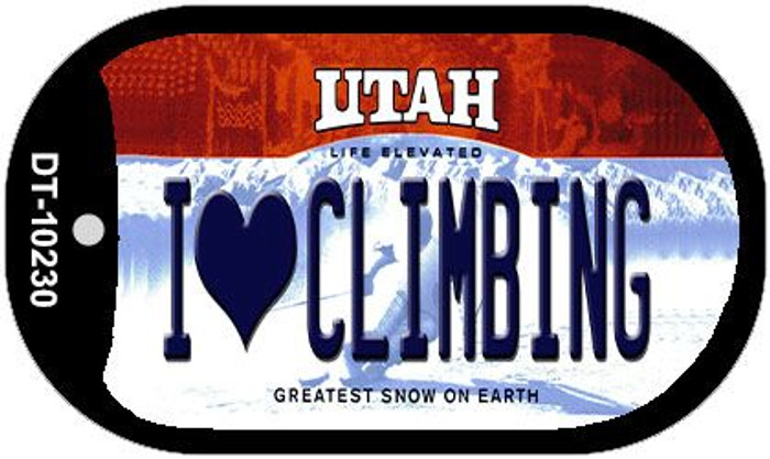 I Love Climbing Utah Novelty Metal Dog Tag Necklace DT-10230