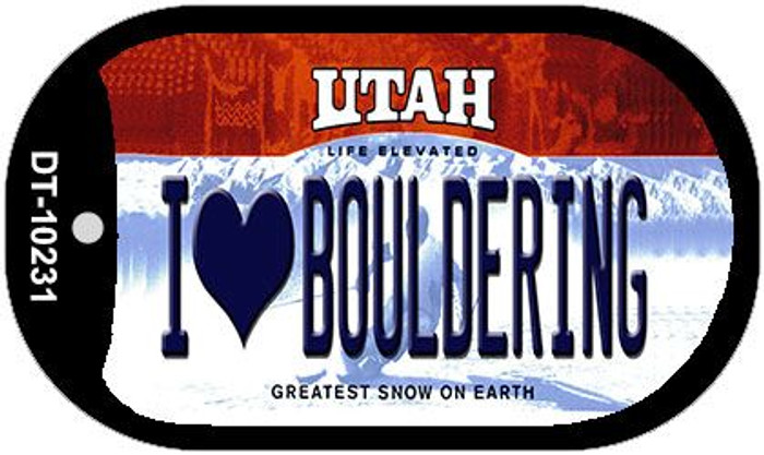 I Love Bouldering Utah Novelty Metal Dog Tag Necklace DT-10231