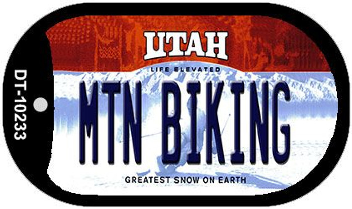 Mtn Biking Utah Novelty Metal Dog Tag Necklace DT-10233