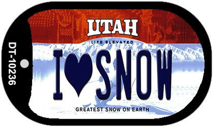 I Love Snow Utah Novelty Metal Dog Tag Necklace DT-10236