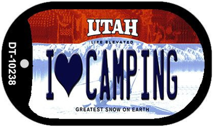I Love Camping Utah Novelty Metal Dog Tag Necklace DT-10238